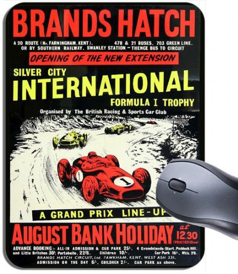 Brands Hatch Vintage Grand Prix Poster Mouse Mat. Racing Silver City Mouse pad.